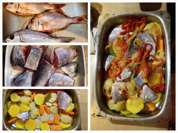 selbstgemachter Fischauflauf von selbst gefangenen Fischen, Eco Hostal Algarve, Quinta Stuart, Sta Barbara de Nexe, Faro, Portugal